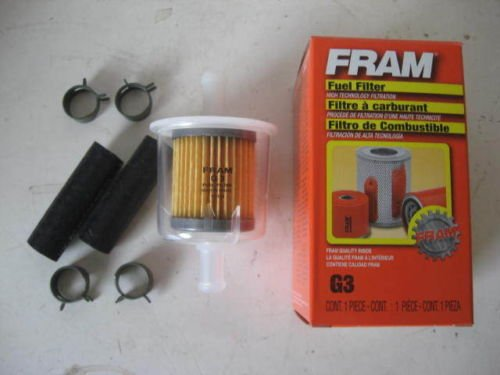 Fram G3 Universal 3  8 U2033 Inline Plastic Fuel Filter With Hoses And Clamps
